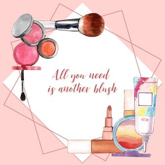 Cosmetisch kransontwerp met borstel, penseel, lippenstift