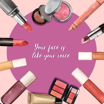 Cosmetisch kransontwerp met lippenstift, camouflagestift, penseel op