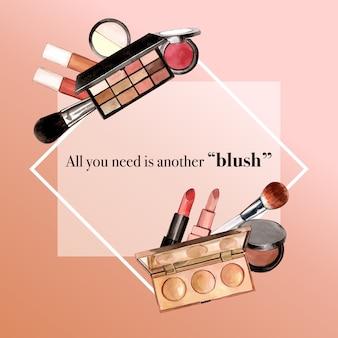 Cosmetisch kransontwerp met lippenstift, markeerstift, oogschaduw