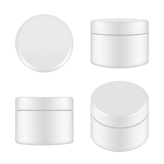 Cosmetisch pakket. afgeronde schoonmaak crème plastic buis vak container boven- en zijaanzicht vector