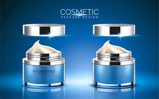 Cosmetisch pakket, blauwe kleur crème pot met crèmetextuur in afbeelding