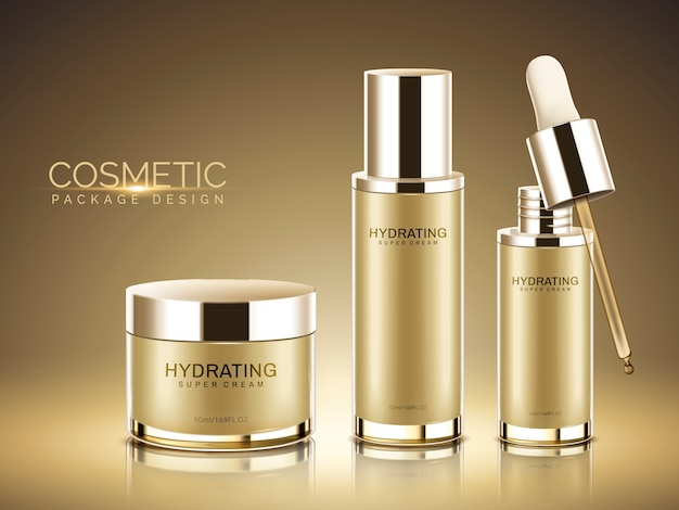 Cosmetisch pakket, champagne goudkleurige containers met in afbeelding