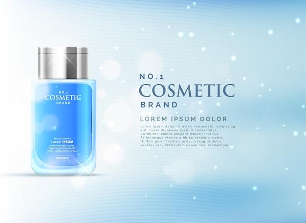 Cosmetisch product advertenties weergaveconcept sjabloon met mooie blauwe bokeh achtergrond
