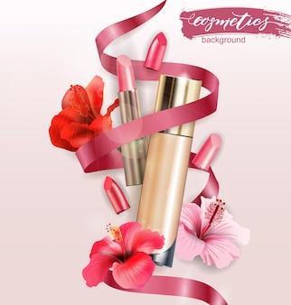 Cosmetisch product foundation concealer crème met lippenstift schoonheid en cosmetica achtergrond vector
