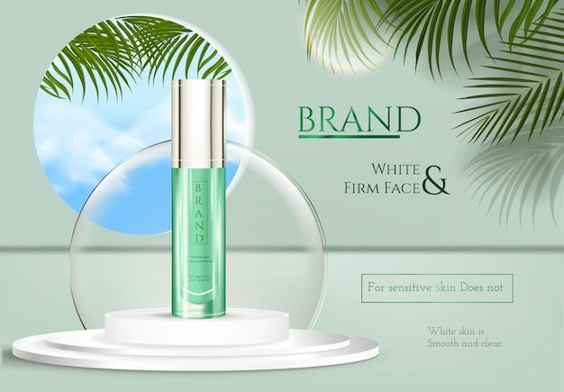 Cosmetisch product op voetstuk realistische banner met 3d-podium luxe crème en schoonheidsspray