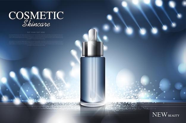 Cosmetisch product poster fles pakketontwerp met vochtinbrengende crème of vloeibare sprankelende achtergrond