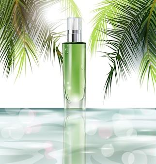Cosmetisch product, realistisch buismodel voor crèmedispenser, lotion, gel, medicijncrème, tooncrème, zalf, concealer, zalf een krans van geschilderde kruiden en bloemenachtergrond. sjabloon vector.