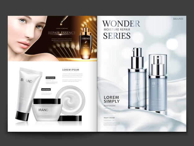 Cosmetisch tijdschriftontwerp, aantrekkelijk model met huidverzorgingssets op zijdezachte satijnen achtergrond in 3d illustratie