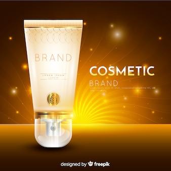 Cosmetische advertentie met een realistisch ontwerp