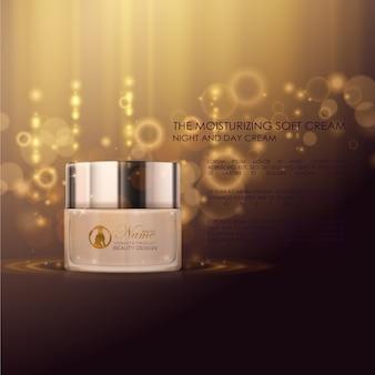 Cosmetische advertentie met gouden achtergrond
