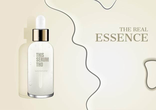 Cosmetische advertentie, serum met water op beige achtergrond