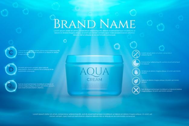 Cosmetische advertentiepresentatie met details