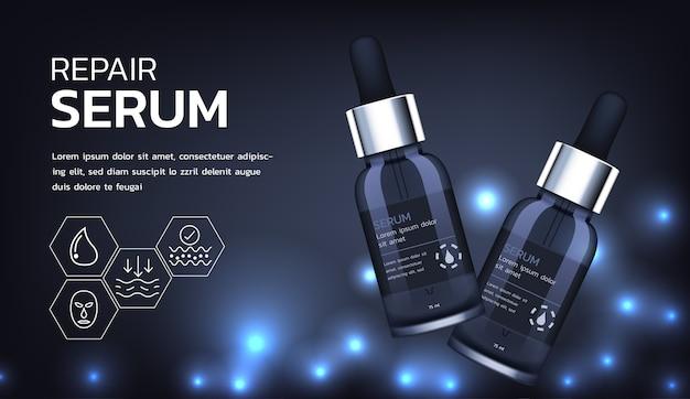 Cosmetische advertenties. cosmetische producten gloeien