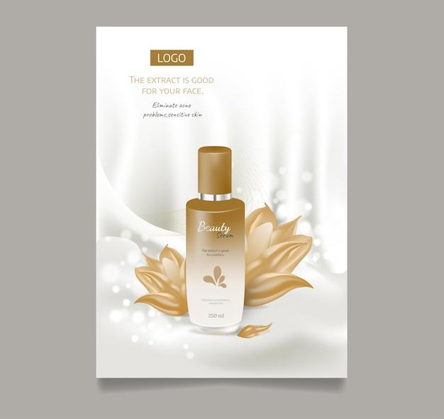 Cosmetische advertenties hydraterend serum lichtbeige zijde stof water bloem bloesem realistisch pakket