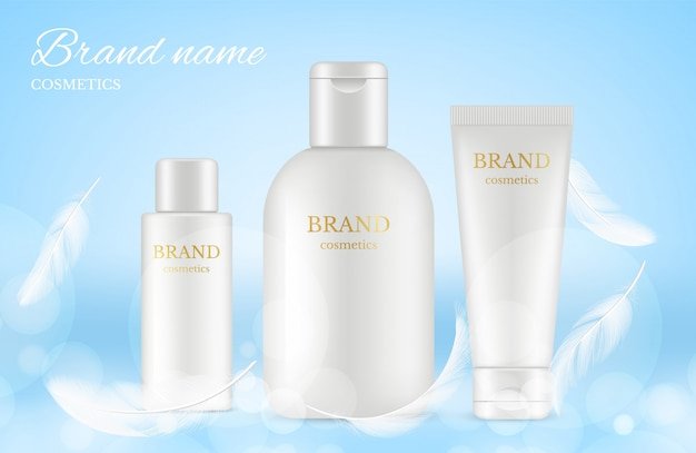 Cosmetische advertenties poster. banner met realistische crème buizen, flessen, veren