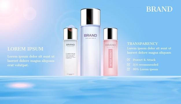 Cosmetische advertenties. serum op het wateroppervlak met zonlicht