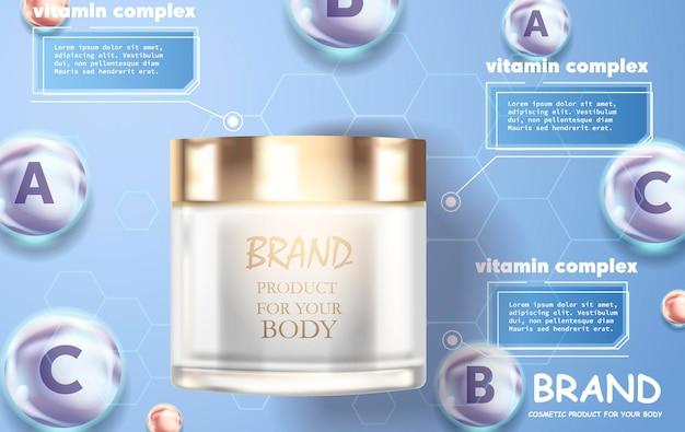 Cosmetische advertentiesjabloon, glazen druppelflesje met essentieolie geïsoleerd op bruine achtergrond.