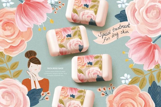 Cosmetische advertentiesjabloon met realistisch rozenzeepmodel op schattige aquarelachtergrond