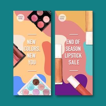 Cosmetische banner met lippenstift, oogschaduw