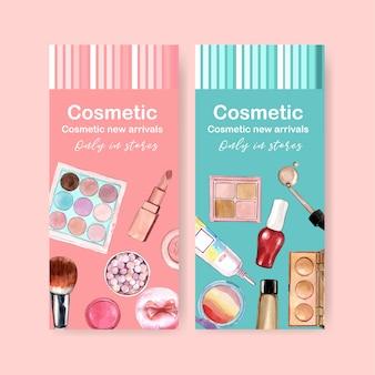 Cosmetische banner met oogschaduw, lippenstift