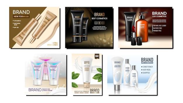 Cosmetische buizen creative promo banner set. crème cosmetische buizen en lege pakketten, lotionfles met pomp en lippenstift op reclamebanners.