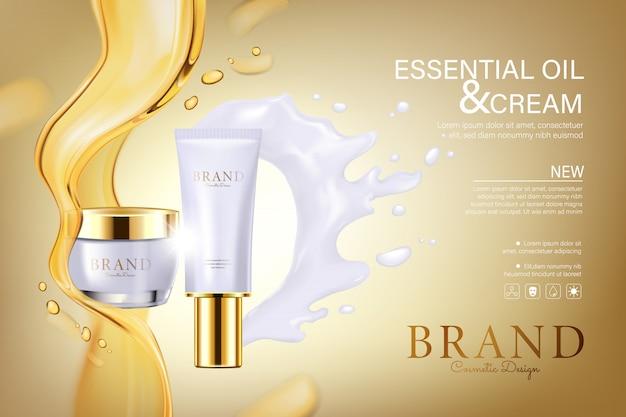 Cosmetische buizen met olie en witte crème stromen
