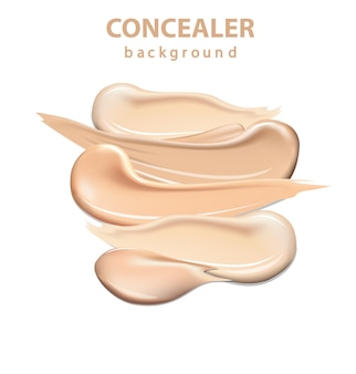 Cosmetische concealer uitstrijkjes geïsoleerd, toon crème vlekkerig