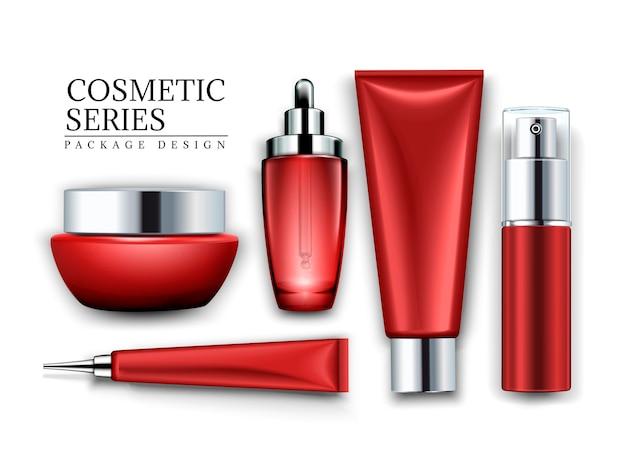 Cosmetische container set, bovenaanzicht van rode buizen en potten geïsoleerd op een witte achtergrond, 3d illustratie