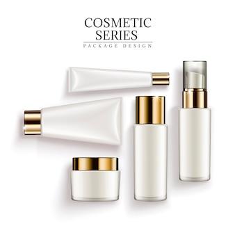 Cosmetische container set, bovenaanzicht van witte buizen en potten geïsoleerd op een witte achtergrond, 3d illustratie