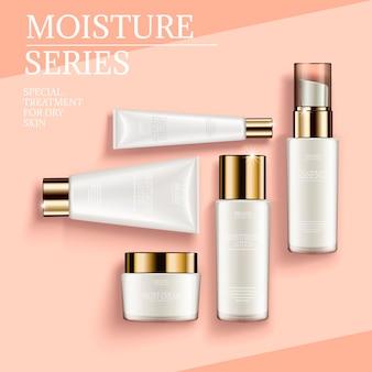 Cosmetische container set, bovenaanzicht van witte buizen en potten geïsoleerd op geometrische achtergrond, 3d illustratie