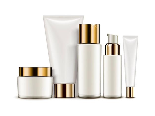 Cosmetische container set, witte buizen en potten geïsoleerd op een witte achtergrond, 3d illustratie