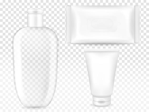 Cosmetische containers illustratie van 3d-realistische model sjablonen voor merk.