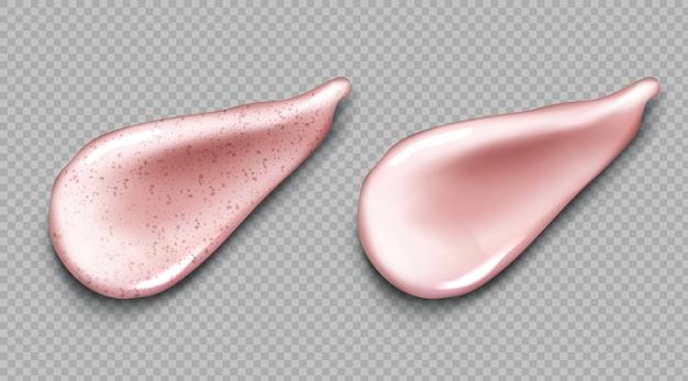 Cosmetische crème en scrub roze uitstrijkje realistische set