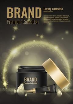 Cosmetische crème realistische sjabloon productpakket gouden 3d diamant reclame illustratie.