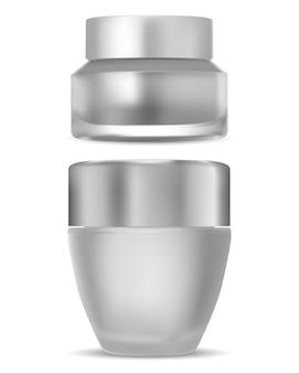 Cosmetische crèmefles van mat glas