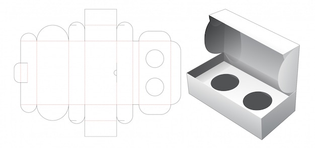 Cosmetische doos met gestanste sjabloon voor ronde inzetstukken Premium Vector