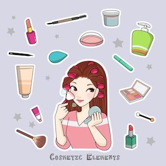 Cosmetische elementen stickers meisje make-up cartoon afbeelding