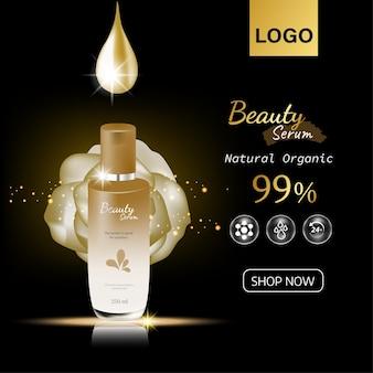 Cosmetische essentie in een druppelflessjabloon voor ontwerp advertenties posterpresentatiebanner