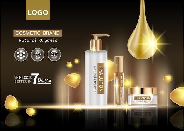 Cosmetische essentie in een druppelflessjabloon voor ontwerpadvertenties, posterpresentatiebanner