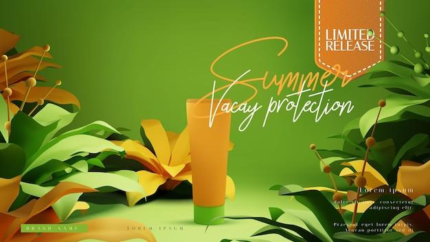 Cosmetische fles advertenties of presentatie lay-out sjabloon met kleurrijke tropische zomer gebladerte scène Premium Vector