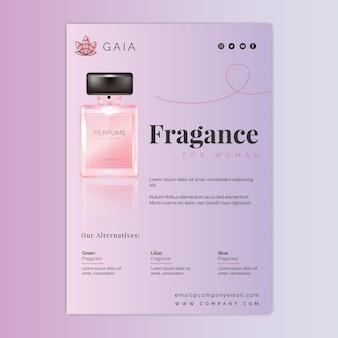 Cosmetische fles folder sjabloon met foto
