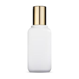 Cosmetische fles glazen container met gouden dop luxe schoonheidsverpakking