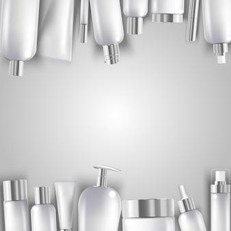 Cosmetische fles mock-up set geïsoleerde pakketten