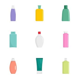 Cosmetische fles pictogramserie. platte set van 9 cosmetische fles pictogrammen