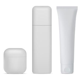 Cosmetische fles set. witte crème, lotionpakket