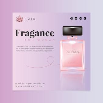Cosmetische fles vierkante flyer-sjabloon met foto