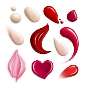 Cosmetische foundation lipgloss crème smeert realistische pictogrammenset met monster verschillende vormen en tonen illustratie
