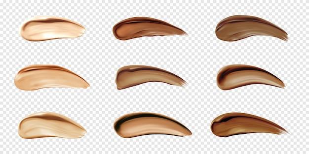 Cosmetische foundation stalen uitstrijkjes