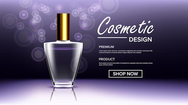 Cosmetische glazen achtergrond sjabloon
