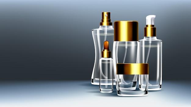 Cosmetische glazen verpakkingen
